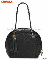 Sweet tassel embossed leather satchel bag for lady