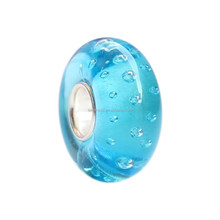 Wholesale Water Park Turquoise Bubbles Murano Glass Bead with 925 Sterling Silver Tube For European Bracelets