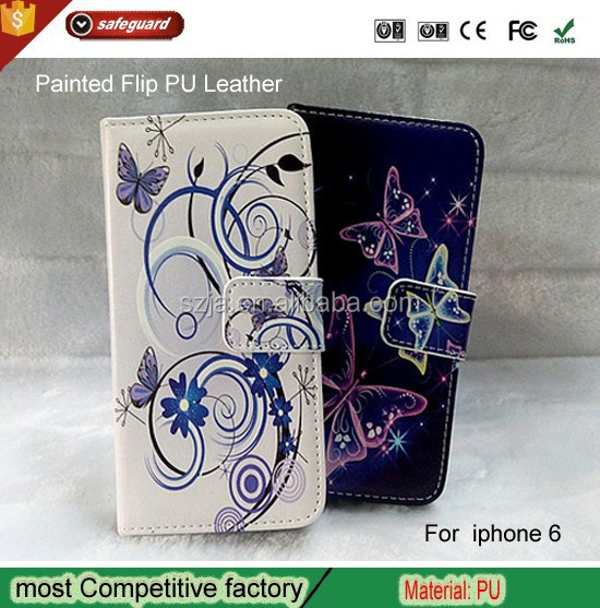 Factory wholesale Painted PU Leather Wallet insert card Flip phone Cover Case For iPhone 6 4.7""