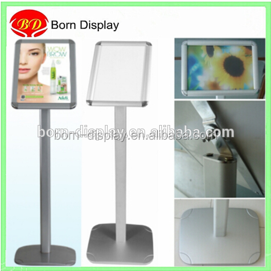 Outdoor Display Flat Steel Standing Pole A4 Advertising Poster Stand for Retail Store