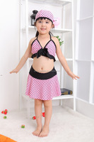 Fashion New Girls Cute Bikinis Flower Korea Style Pink Baby Kids Swimwear For Children Hot Spring Bath