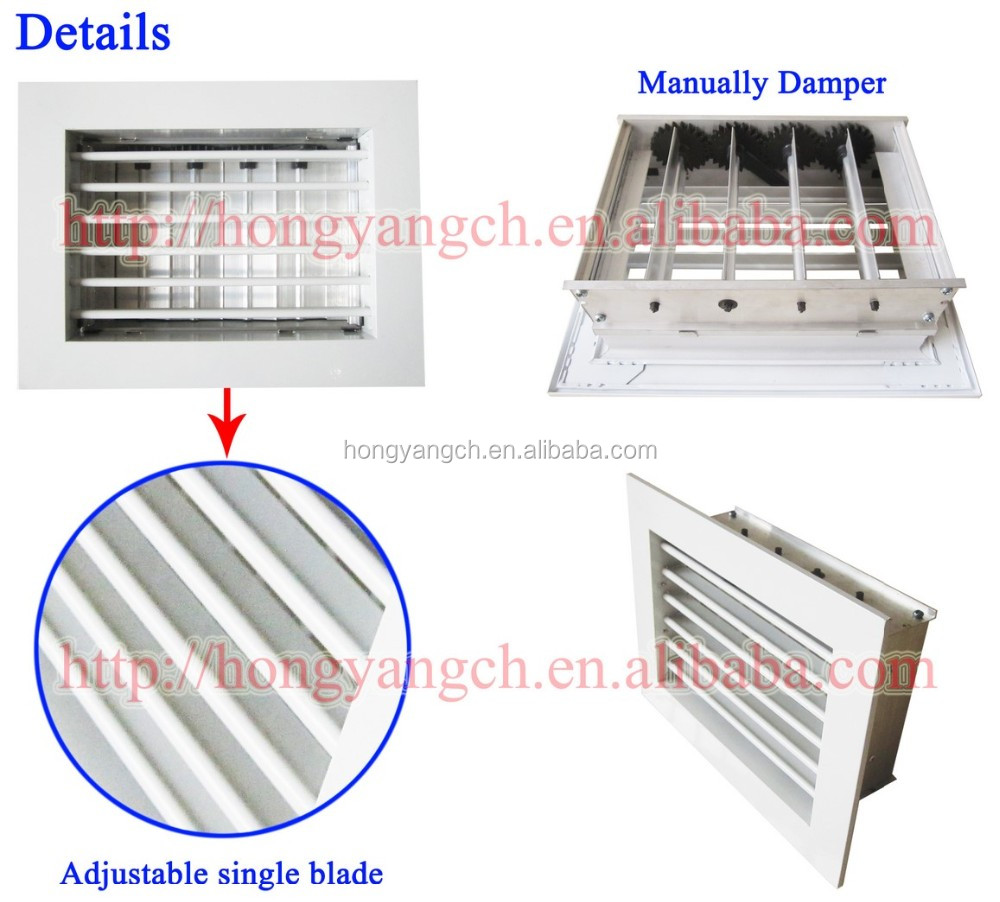 Single Deflection Adjustable Air Direction Grille