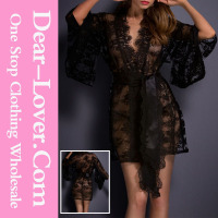 For sale hot black belted lace kimono sexy babydoll lingerie for open mature women