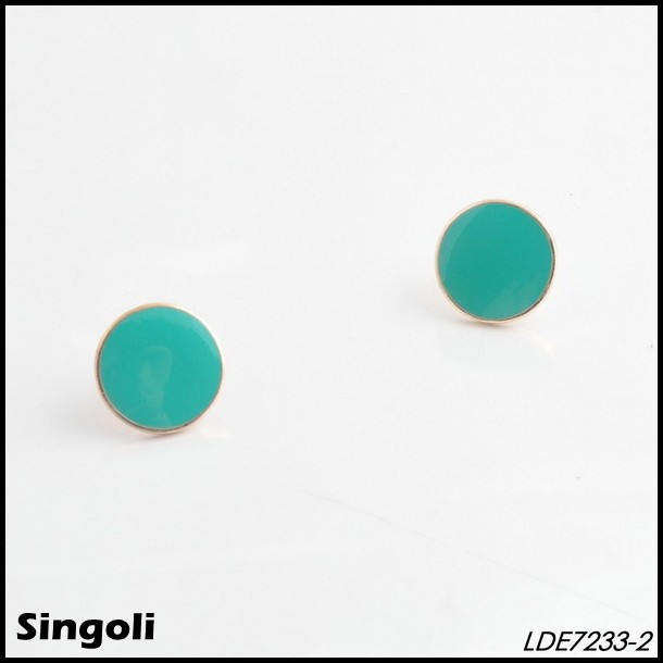 Lucy candy turquoise enamel disc stud earring