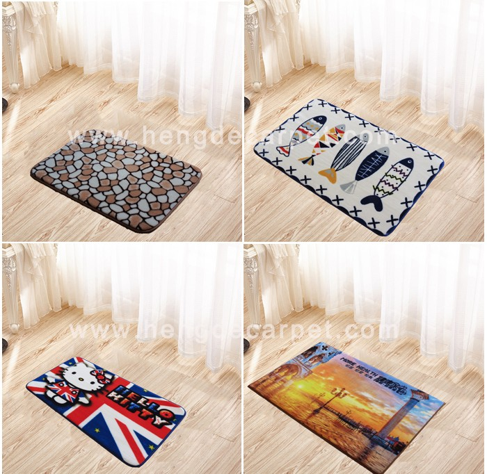 high quality 50*80 cheap washable cartoon floor mat with loop pile for office