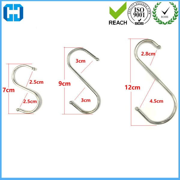 Wholesale Metal S Shape Type Hooks Hangers for Kitchen Metal Clasp Cup
