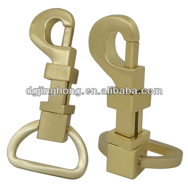Solid Brass Snap Hook in Brushed Gold color (length:63mm, loop inside width:24mm)
