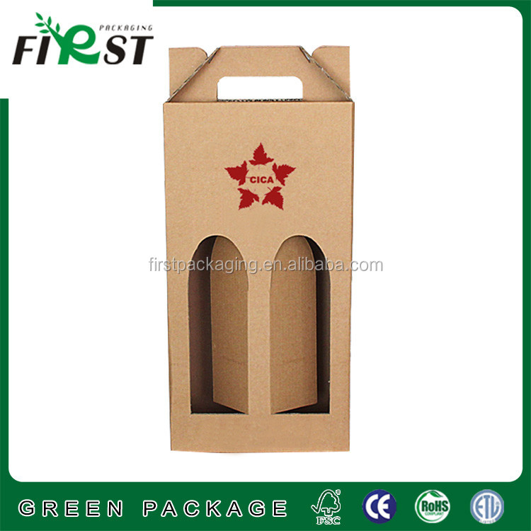 High Quality Low Price Paper Double Bottles Wine Box,Kraft Paper Wine Carry Bags Gift Wine Packaging Box