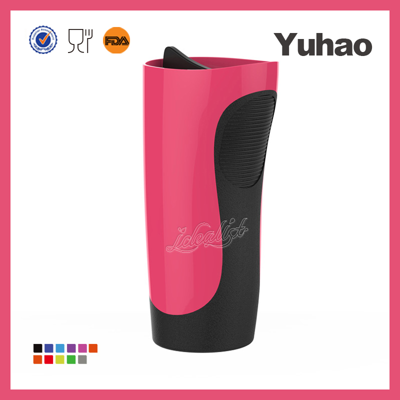 pp travel ceramic coffee mug with silicon lid and handle