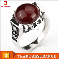 Saudi dyeing black white gold plating red agate 925 silver ring real stone jewelry