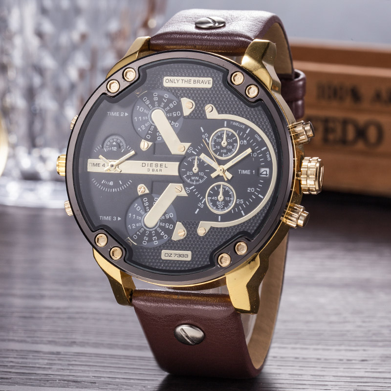 Wholesale Men Watch Fashion The Big Dial Waterproof Watches Men Wrist Luxury Quartz Leather Wristwatches Relogio Masculino