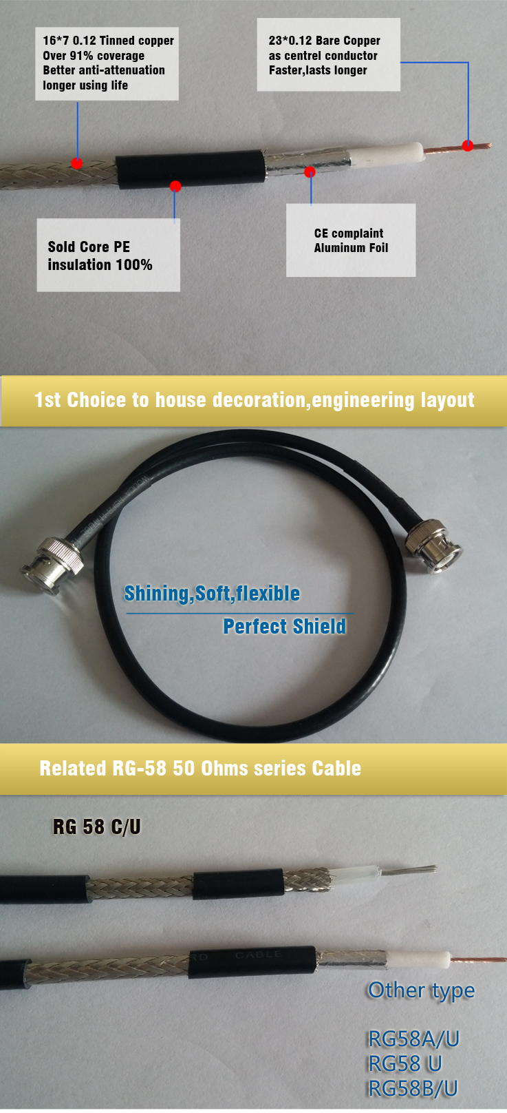 RG 58 A/U Coaxial Cable Made in China hangzhou high Quality RG 58 c/u Coaxial Cable Coaxial Cable 50 ohm rg58 coaxial cable pure