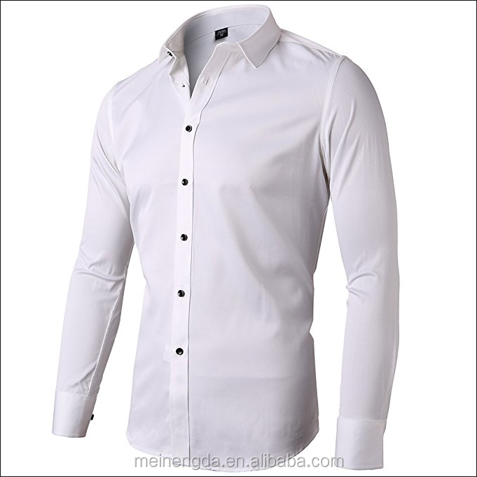 Men's Bamboo Fiber Dress Shirts Slim Fit Solid Long Sleeve Casual Button Down Shirts, Elastic Formal Shirts for Men