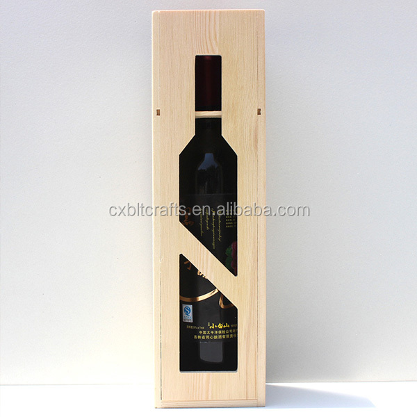 Personalized custom cheap one bottles hinged wood wine box packaging