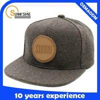 100% wool brown leather strap snapback hats custom