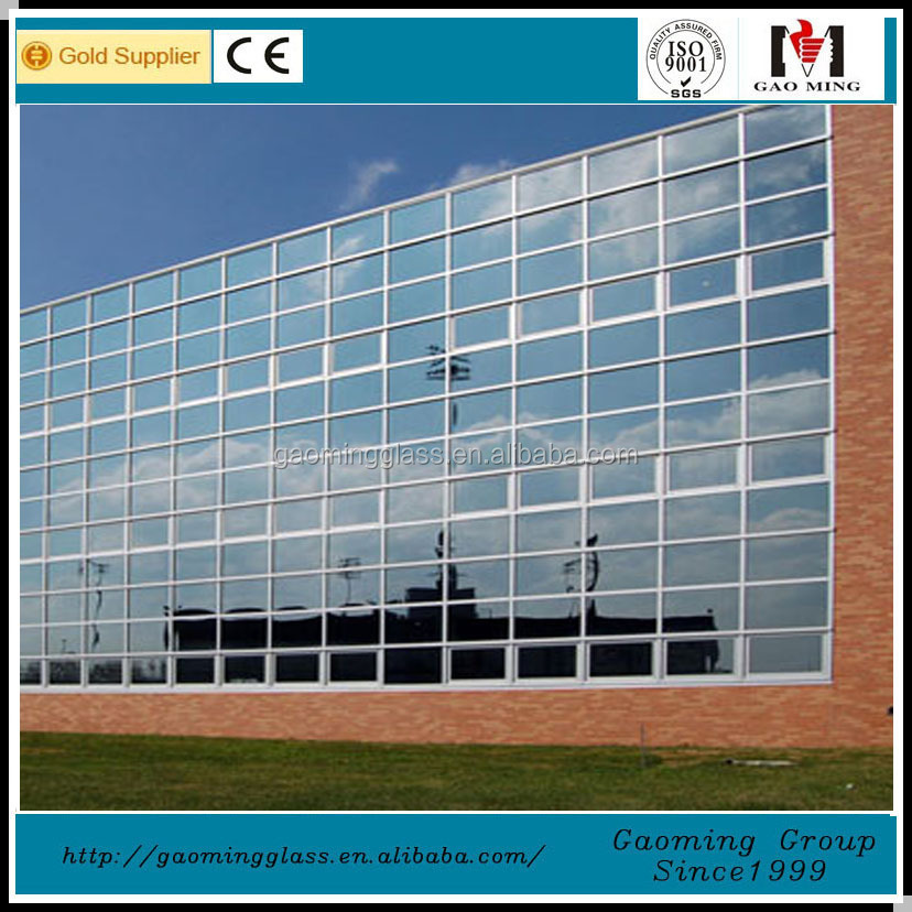 Exposed aluminium frame insulated glass panel curtain wall