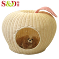 apple shape PE rattan handmade washable small animal cage cats and dogs bed pet house