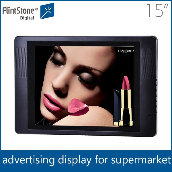 "Flintstone 15 inch lcd advert motion sensor video player lcd digital advertising panel 15"" lcd digital signage media player"