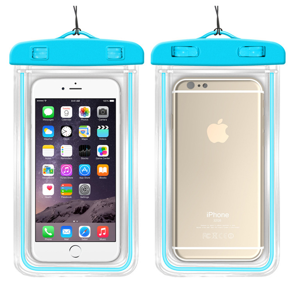 Free Shipping 5pcs/lot Practical Universal Leak-tight Hand Phone Clear Waterproof Bag With Strap