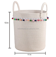 China Supplier 100% Nature Color Cotton Rope Woven Straight Side Storage Basket With Handles And Decorative Balls