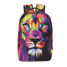 Fashion 3D Animals Lion Pattern Printed Backpack for Boys Girls Outdoors Travel Big Breathable Bags