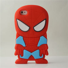 new design 3D cartoon spiderman case for iphone 4 soft case silicone rubber cover