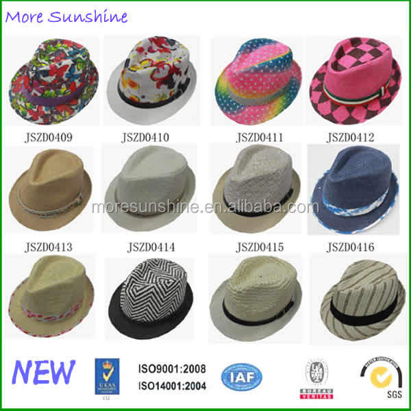 Wholesale mens straw hats Factory Custom paper fedora Hat