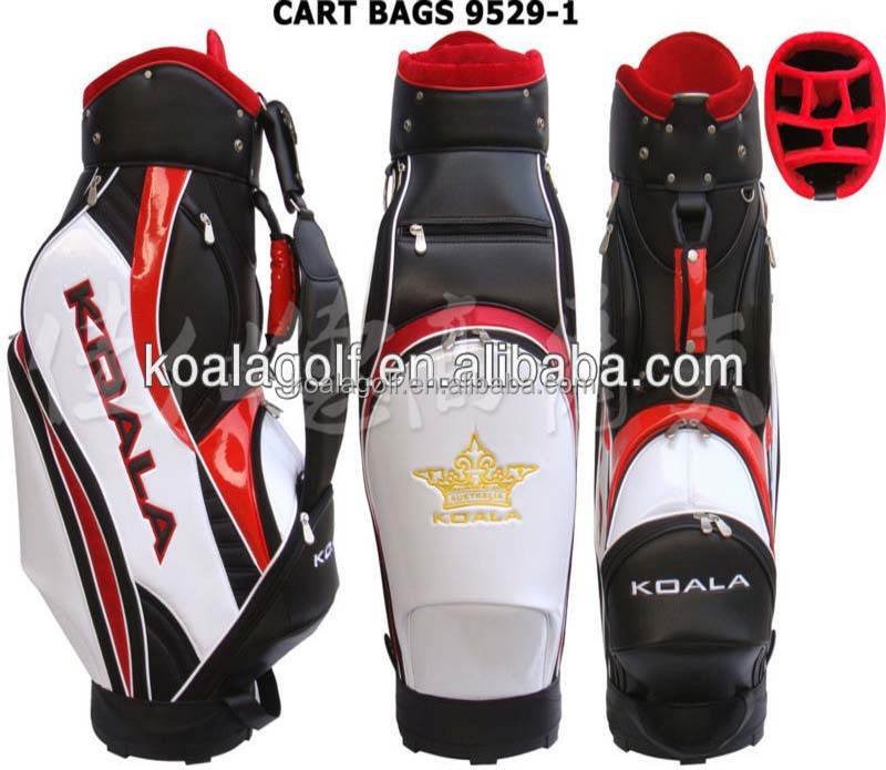 Luxurious golf caddy bag,Customized best selling PU golf cart bags