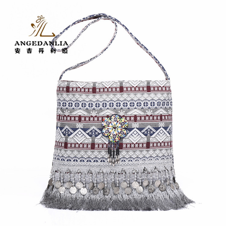 Wholesale Custom Printed Handbags Sublimation Ethnic Reversible Cotton Canvas Tote Bag
