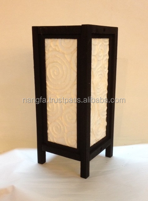 Black + white table lamp from Thailand with wooden frame