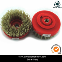 100mm Snail Lock Abrasive Brush Round Diamond Dupont Nylon Silicon-Carbide Tools for Marble/Granite/Concrete