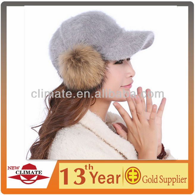 Warm Rabbit Fur Winter Baseball Hat Visor Cap With Ear Covers