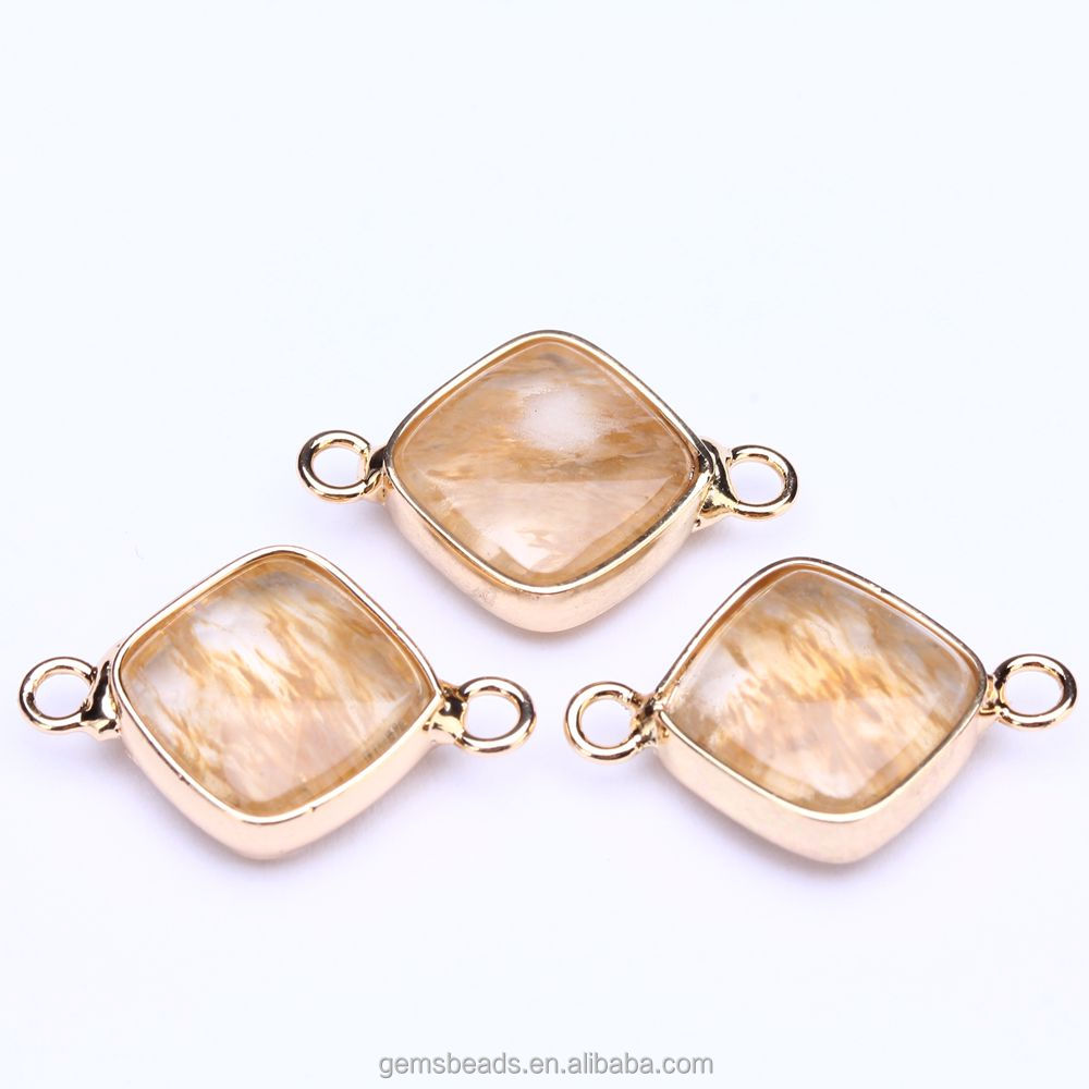 wholesale Faceted Gold Framed Bezel connector pendant for Jewelry making