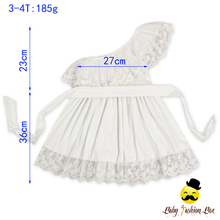 Fashion One Shoulder Lace Ruffles Baby One Year Party Wear Baby Dress Girls