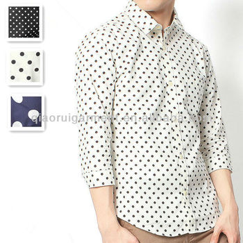 Men's cotton 3/4 sleeve royal dot shirt