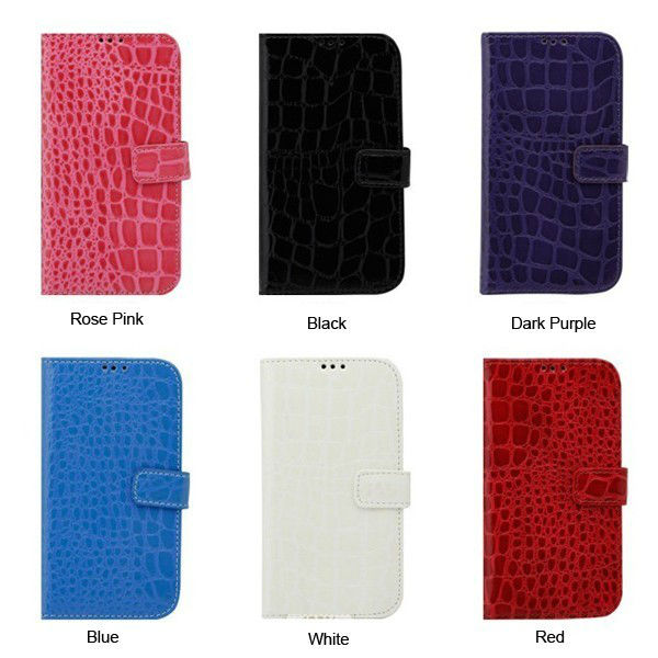 For Samsung Galaxy S4 S IV GT-I9500 Crocodile Skin Luxury PU Leather Wallet Stand Case Cover Pouch