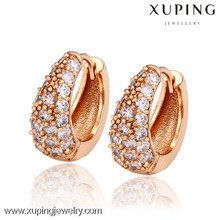 26877 Xuping Fashion rose Gold Plated Earrings Elegant popular Huggies earring With Glass