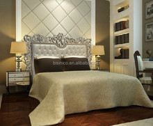 Exquisite hand carved king size bed , European style luxury soft bedroom set(LT-1011)