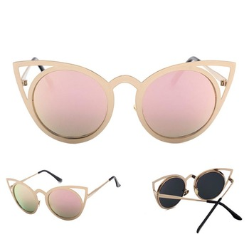 Wholesale Customized Logo Metal Frame Sunglasses Women Men cat eye sunglasses