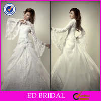 Fashion Muslim Long Sleeve Lace Satin Wedding Gown