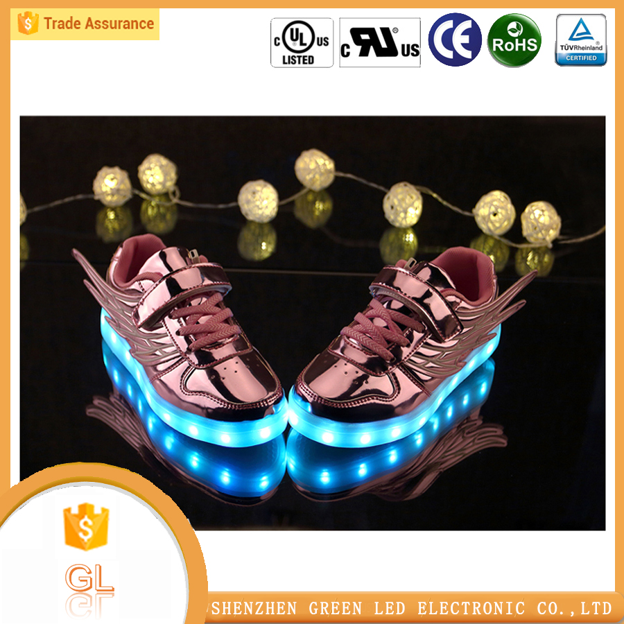 Lace-up wing style kids high heel shoes, led kid shoes shenzhen factory