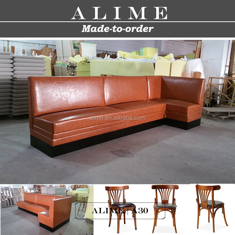 ALIME A30 brown leather L shape unique restaurant furniture
