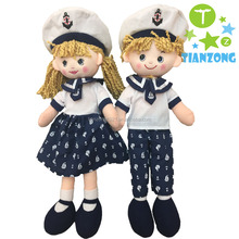 Hot sell 40cm navy couples girl and boy baby rag dolls