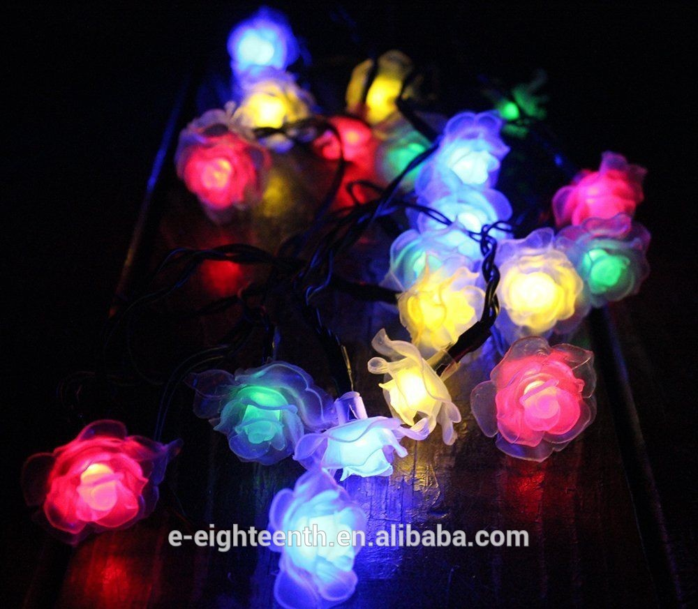 2016 new popular colorful Rose string lights solar garden lights 20led outdoor Fairy lamp