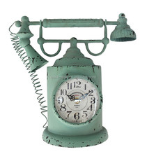 Home Decor Retro Vintage Phone Shaped Metal Table Alarm Clock