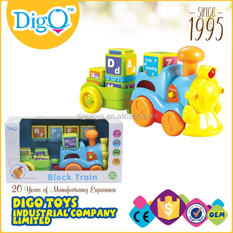 plastic educational electronic block toy train sets