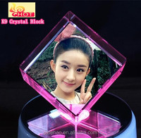 Wholesale 3D Laser Engraved K9 Crystal Glass Block