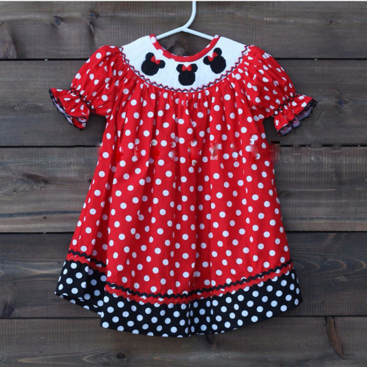 Lovely Baby Girl Short Sleeveless Black Minnie Dot Shirt Easter Clothing Set