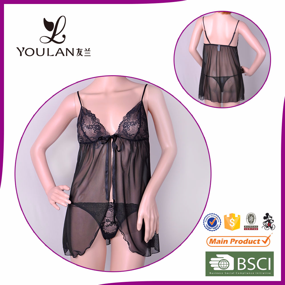 Customized Slim Young Girl Transparent Sexy Bedroom Night Wear