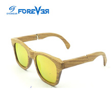 2017 popular hotselling CAT3.0 foldable temples yellow mirror 0.74mm polarized wooden sunglasses wholesale in china